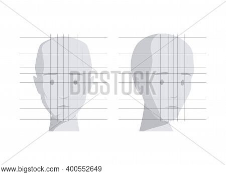 Model Of Human Head In Different Angles Vector Flat Illustration Isolated On White Background. Human
