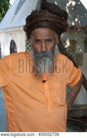 Gujarat, India-february 2, 2010: Sadhu With The Hair Up.