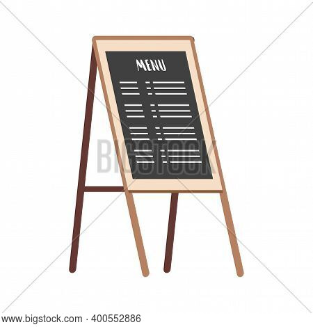 Black Chalk Board With Menu Vector Flat Illustration Isolated On White Background. Outdoor Cafe Or R