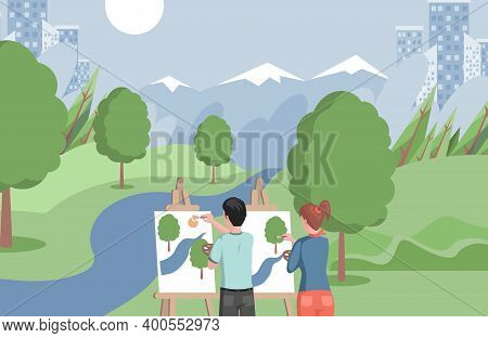 Children Standing On Shore Of Lake And Drawing Landscape Vector Flat Illustration. Girl And Boy Stud