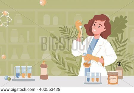 Pharmacist Or Scientist Invents Natural Organic Formula Of Cosmetics Vector Flat Illustration. Young