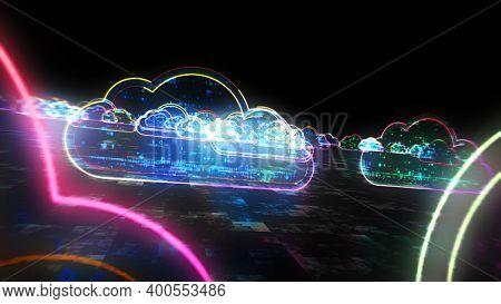 Cloud Digital Symbol Neon Abstract Concept Illustration