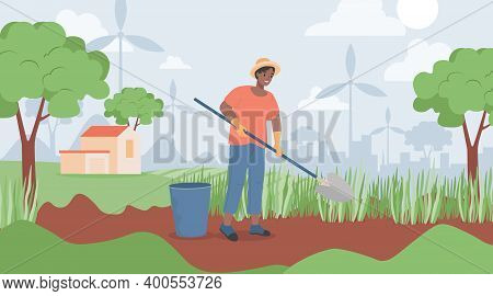 Happy Smiling Man In Yellow Hat Holding Shovel And Digging In Garden Vector Flat Illustration. Garde