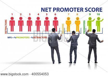Net Promoter Score NPS concept with businessman