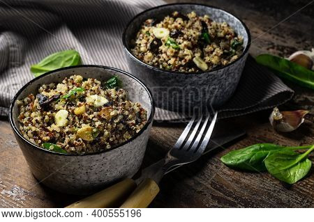 Two Bowl Of Quinoa, Mushroom And Garlic Salad