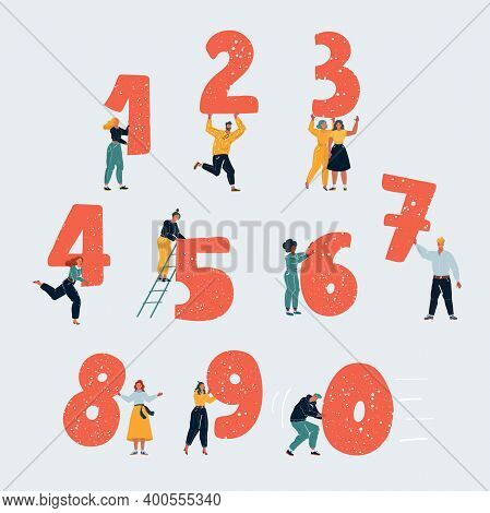 Vector Illustration Of Little People With Numbers. Tiny People With One, Two, Thee, Four, Five, Six,