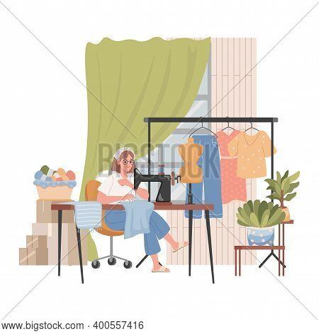 Tailor Or Dressmaker Sews Clothes On Sewing Machine Vector Flat Illustration. Sewing Workshop Interi