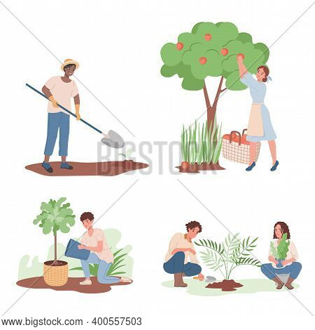 Gardening, Agriculture Gardener Hobby Vector Flat Illustration. Group Of Happy Smiling People Workin