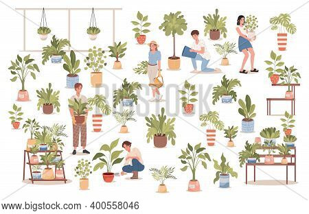 Group Of Happy Smiling People In Comfortable Clothes In Flower Shop Vector Flat Illustration. Men An