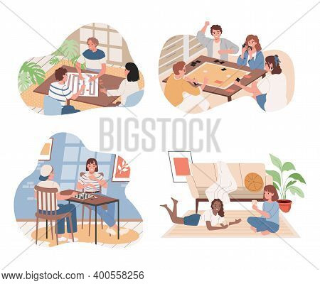 Set Of People Playing Board Games. Friends, Men And Women Playing Table Games Indoor In Living Room.