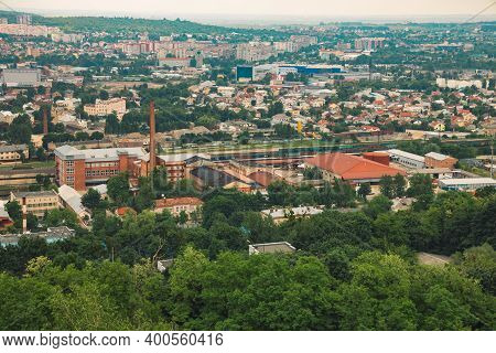Outskirts Landmark Building Rustic Industry Area Outdoor Aerial Top View Soft Focus Picture In Morni