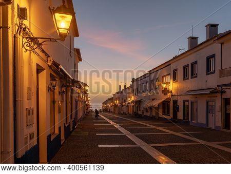 The Rua Vasco Da Gama In Porto Covo At Sunset