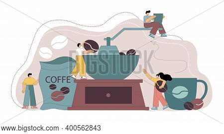 Grinding Coffee Beans. Flat People Make Coffee, Grind Coffee On A Coffee Grinder. Barista. Vector Il