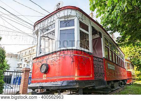 Samara, Russia - May 18, 2019: Retro Tram Vagon At The Outdoors Tram Museum In Samara