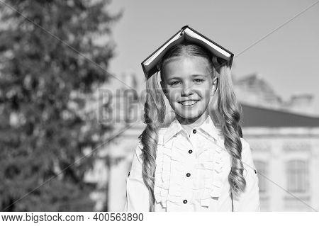 Choose Book For School Literature. Happy Kid With Book On Head. Literature Lesson. English Literatur