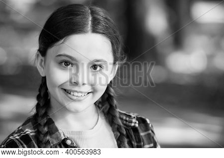 Let Your Smile Shine All Day Long. Happy Child Smile Summer Outdoors. Little Girl With Cute Smile. O