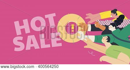 Discounts, Sale, Promotion - Modern Flat Vector Concept Illustration Of People Crowd Raising Their H