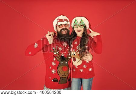 Happy Family. Small Girl And Cheerful Father Man. Party Accessories. Family Wear Winter Sweaters. Ha