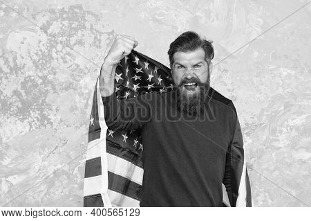 Express Pure Emotions. Happy Celebration Of Victory. Bearded Hipster Man Being Patriotic For Usa. Am