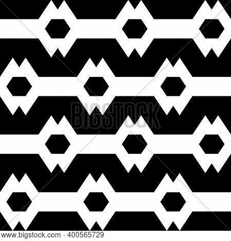 Hexagons, Zigzag Lines Background. Folk Ornament. Polygons, Jagged Stripes Pattern. Ethnic Motif. Ge