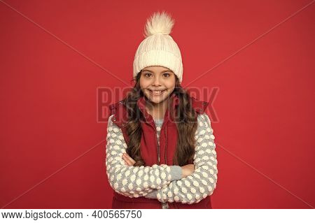 Winter Accessories. Good Mood. Emotional Wellbeing. Emotions Concept. Girl Enjoy Winter. Good Vibes.