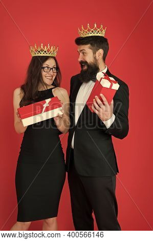 Wow. Surprised King And Queen. Business Couple Got Surprise Reward. Bearded Man And Sexy Woman Hold