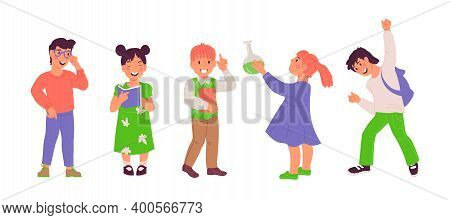 Clever Smart School Kids With Books In Hands, Flat Vector Illustration Isolated.