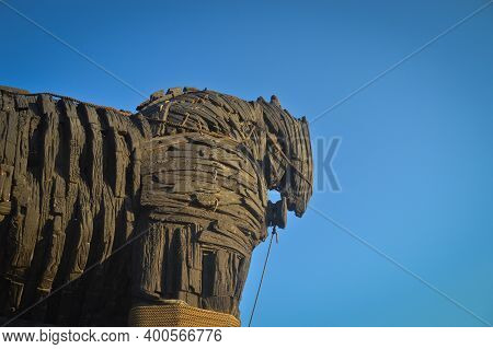 Trojan Horse In Canakkale. Wooden Horse Is From Troy Movie And Was Donated To The City Of Canakkale.