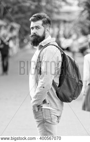 Modern Rest. Bearded Man Travel. Guy Exploring City. Discover Local Showplace. Backpack For Urban Tr