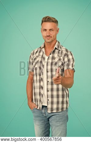 You All. Fashion Doesnt Have To Be Tricky. Handsome Man Point Finger Blue Background. Casual Style.