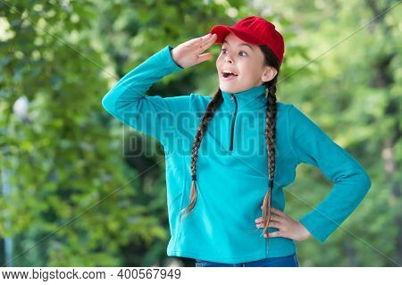 Curiosity Is The Fuel For Discovery. Little Girl Look Ahead Natural Landscape. Summer Vacation. Happ