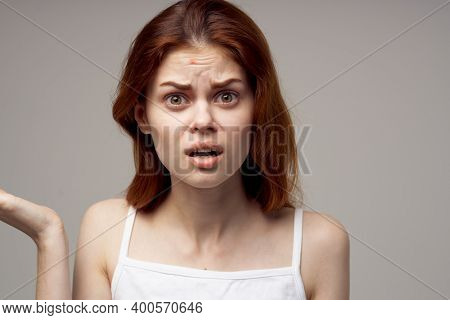 Surprised Woman With Acne On Her Face Health Problems Acne