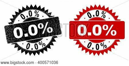 Black Rosette 0.0 Percent Seal Stamp. Flat Vector Distress Seal Stamp With 0.0 Percent Title Inside