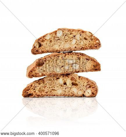 Baked Piece Italian Almond Biscotti, Cantuccini Cookies, Traditional Italian Christmas, New Year Dry