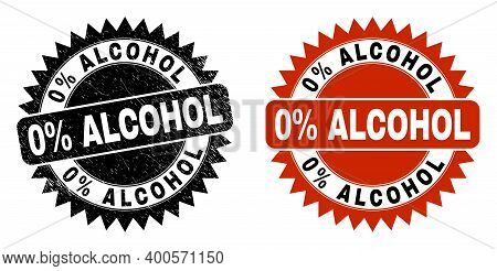 Black Rosette 0 Percent Alcohol Seal Stamp. Flat Vector Textured Seal Stamp With 0 Percent Alcohol T