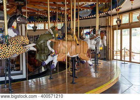 Nederland, Colorado - September 18, 2020: The Carousel Of Happiness, An Old Fashioned Landmark Merry