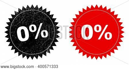 Black Rosette 0 Percent Seal. Flat Vector Grunge Seal With 0 Percent Text Inside Sharp Rosette, And