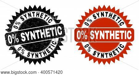 Black Rosette 0 Percent Synthetic Seal. Flat Vector Distress Seal With 0 Percent Synthetic Caption I