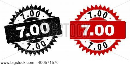 Black Rosette 7.00 Stamp. Flat Vector Scratched Seal Stamp With 7.00 Text Inside Sharp Rosette, And