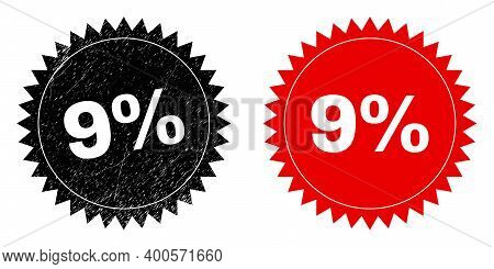 Black Rosette 9 Percent Stamp. Flat Vector Scratched Stamp With 9 Percent Title Inside Sharp Rosette