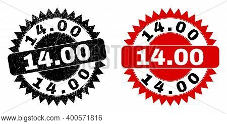Black Rosette 14.00 Seal. Flat Vector Scratched Seal With 14.00 Text Inside Sharp Rosette, And Origi