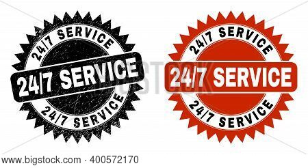 Black Rosette 24-7 Service Stamp. Flat Vector Scratched Watermark With 24-7 Service Text Inside Shar