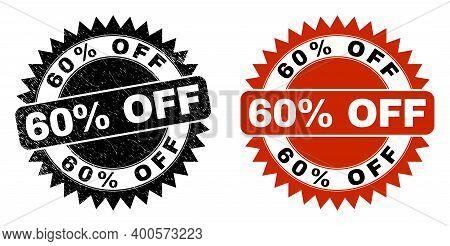 Black Rosette 60 Percent Off Seal Stamp. Flat Vector Scratched Seal Stamp With 60 Percent Off Title