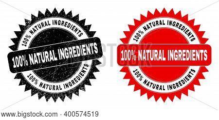 Black Rosette 100 Percent Natural Ingredients Watermark. Flat Vector Grunge Watermark With 100 Perce