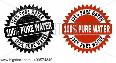 Black Rosette 100 Percent Pure Water Seal Stamp. Flat Vector Distress Stamp With 100 Percent Pure Wa