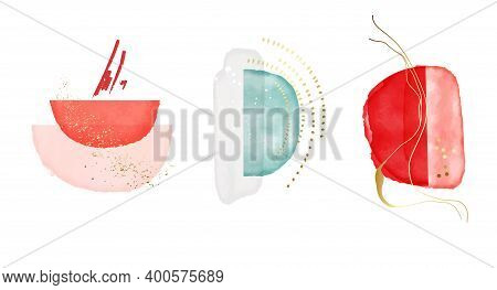 Minimalist Abstract Red Circle Shapes, Modern Marble Art, Watercolor Background. Abstract Creative B