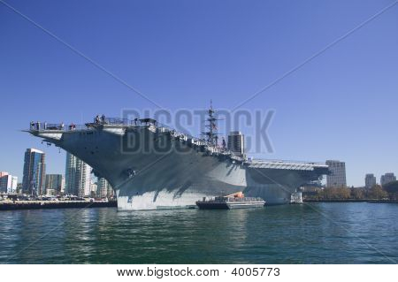 USS Midway CV-41 aircraft carrier docking in San Diego Bay poster