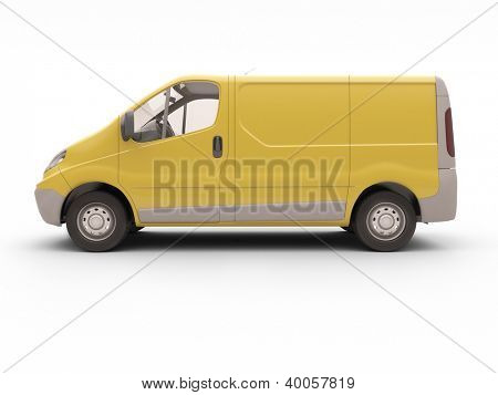 Yellow commercial van isolated on white background