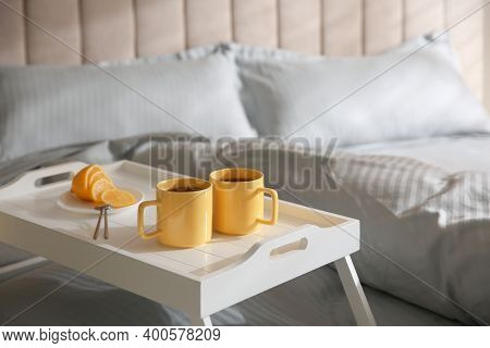 Soft Blanket And Tray With Breakfast On Bed, Closeup