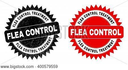 Black Rosette Flea Control Treatment Seal Stamp. Flat Vector Distress Seal Stamp With Flea Control T